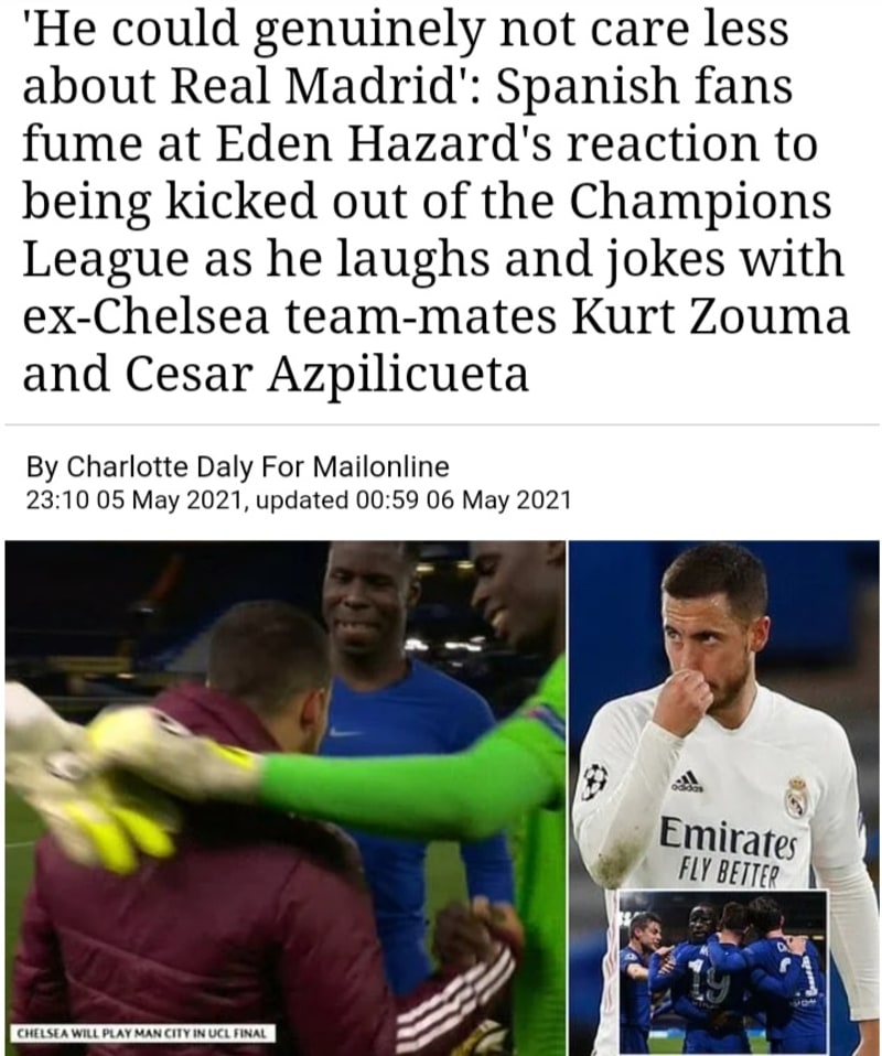 Spanish Fans Angry At Hazard's Reaction To Being Kicked Out Of Champions League