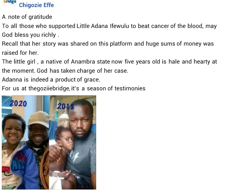 Transformation Of A 5-Year-Old Nigerian Girl  Who Beat Blood Cancer