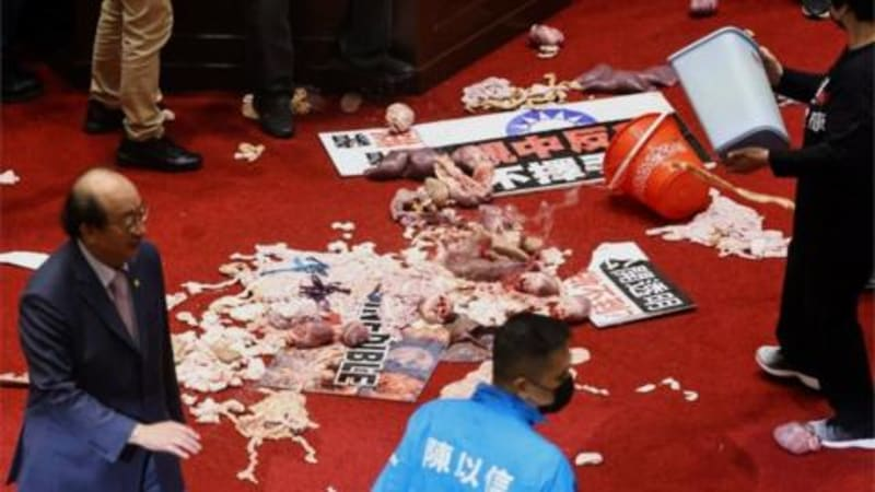 Taiwan Lawmakers Throw Pig Guts And Punches Over US Pork Imports