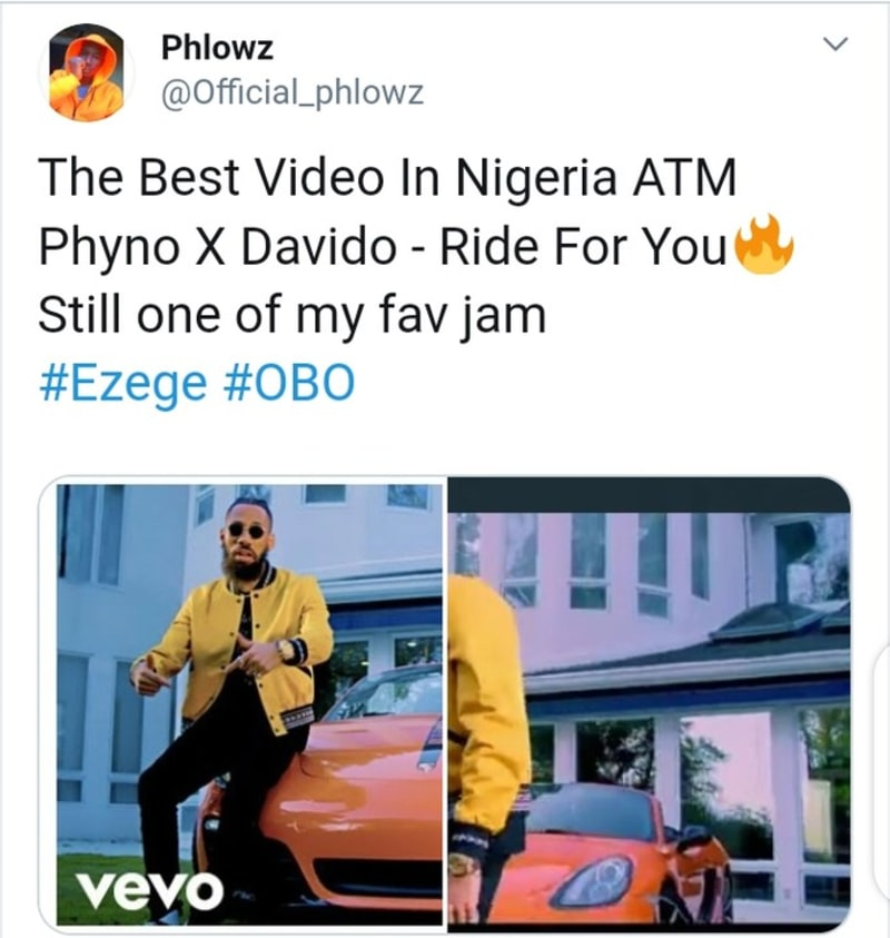davido featured by phyno in 'ride for you' video. trends on twitter