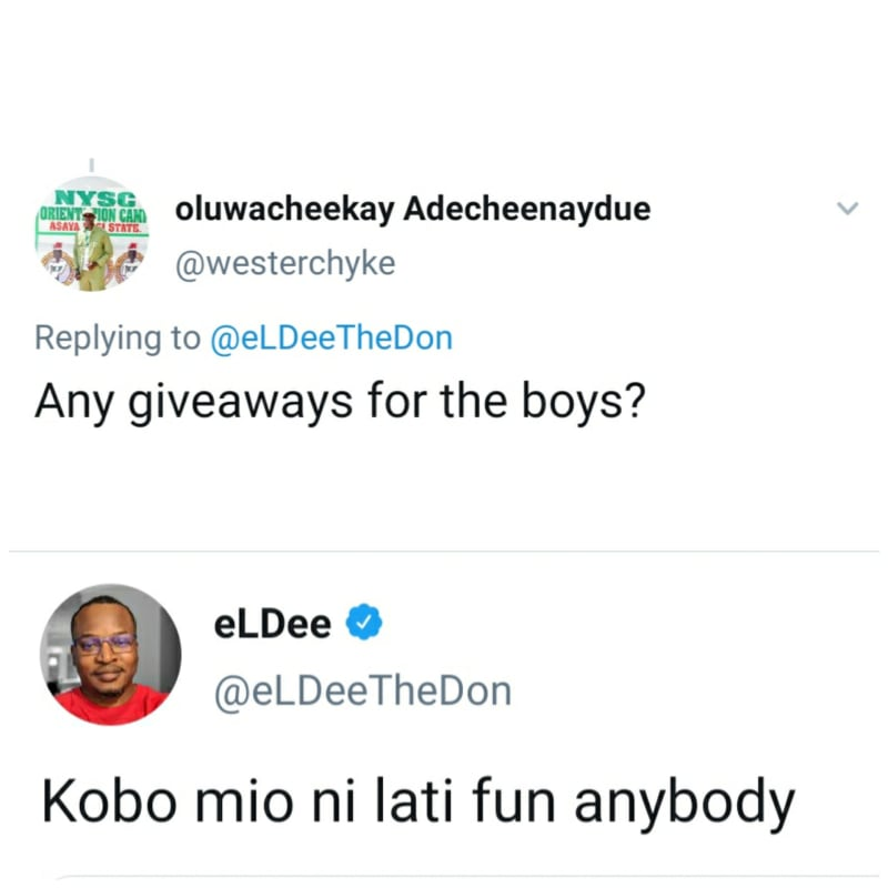I Don't Have A Kobo To Give To Anyone - Eldee To A Follower Asking For Giveaway