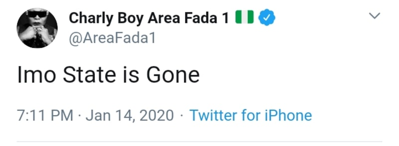 """Charly Boy Reacts As Supreme Court Sacks Ihedioha. Says """"Imo State Is Gone"""""""