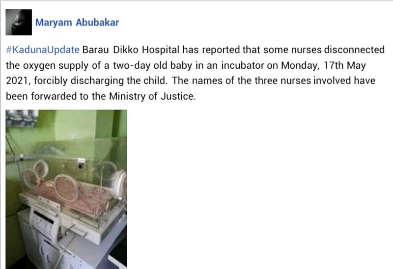 Kaduna Strike: Nurses Disconnect Oxygen Supply Of 2-Day-Old Baby In Incubator