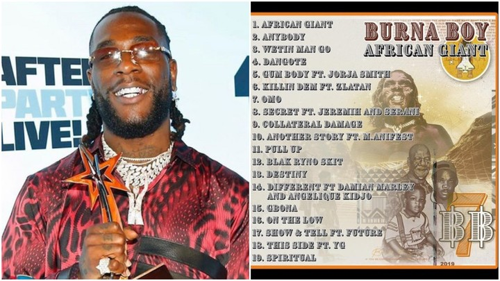 burna boy's 'african giant' tops chart on apple music in more than 10 countries