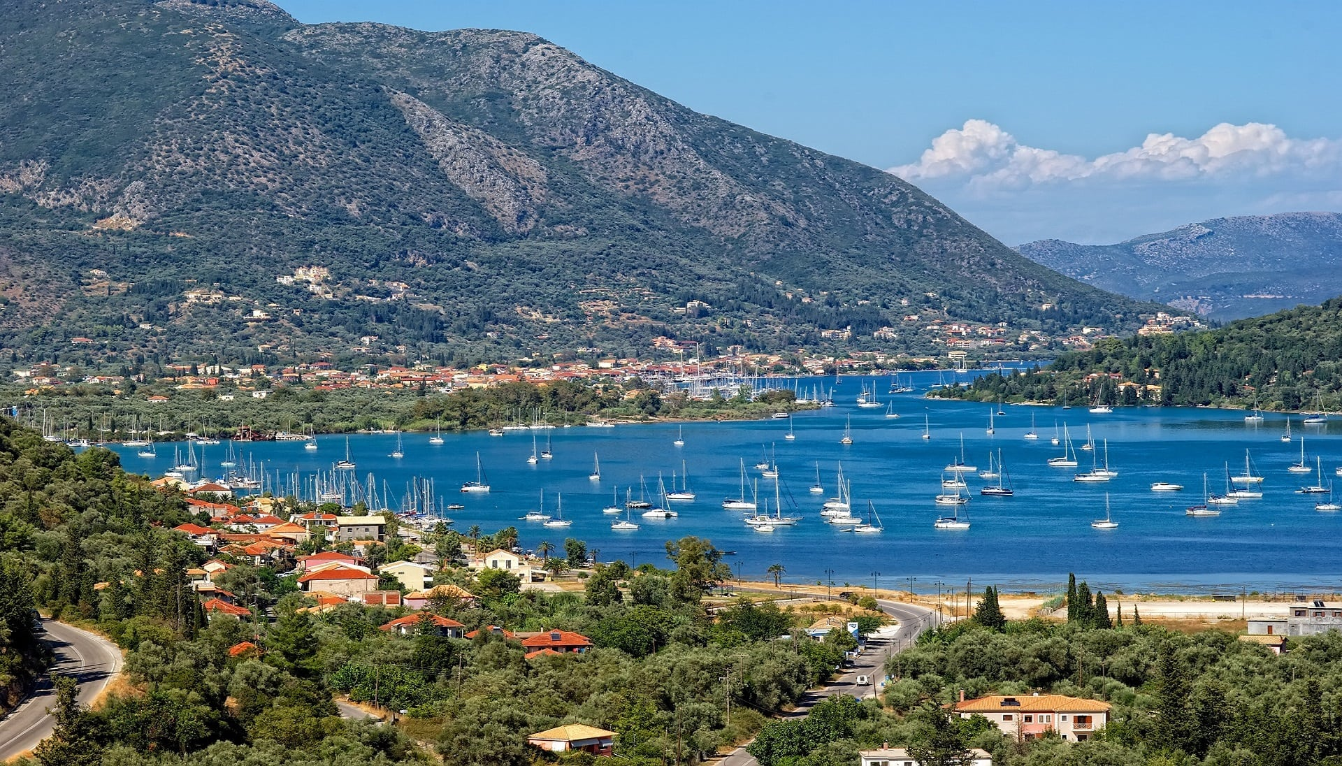 bay of Vlicho, a small village of Lefkada near Nydri, full of sailboats