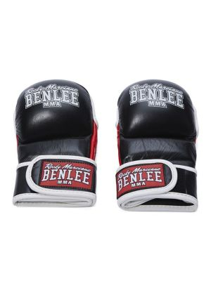 Leather MMA Sparring Gloves Striker Black S/M