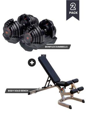 SelectTech 10 - 90 lb. Dumbbells + FID Bench