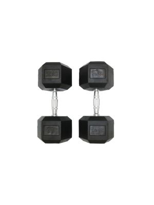 Hex Rubber Dumbbell Black Cast Iron with High Grade Electroplated Handle | Pair