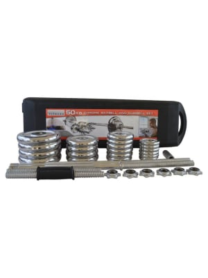 Chrome Dumbbell and Barbell Set with Carry Case | 50 Kg