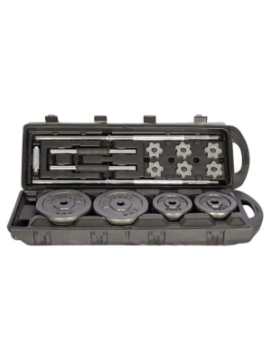 Black Barbell and Dumbbell Set with Carry Case   50 Kg