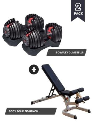 SelectTech 5 - 52 lb. Dumbbells + Heavy Duty FID Bench