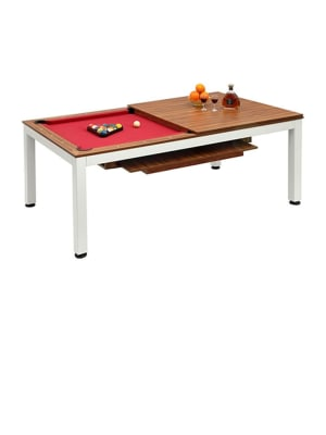 Dinnete Model Dining Pool Table 8Ft With Slate White Metal Legs With Brazil Birch Table