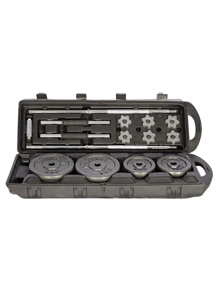 Black Barbell and Dumbbell Set with Carry Case | 50 Kg