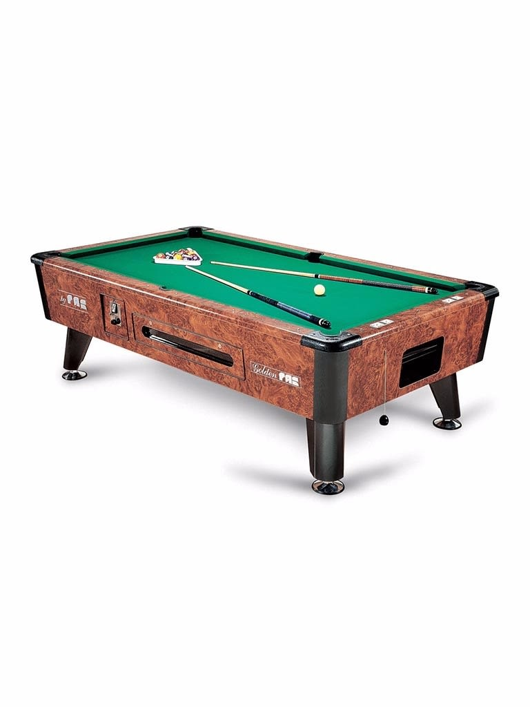 Golden 8 feet Token Operated Pool Table