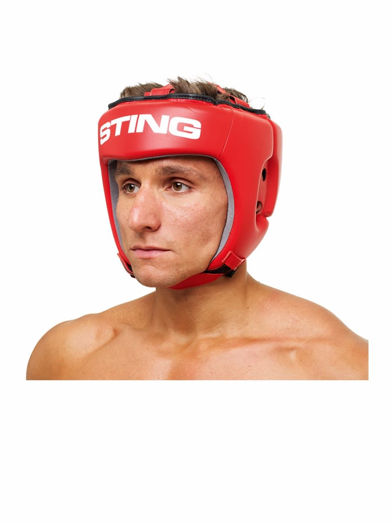 Competition Leather Head Guard Aiba Red Red L