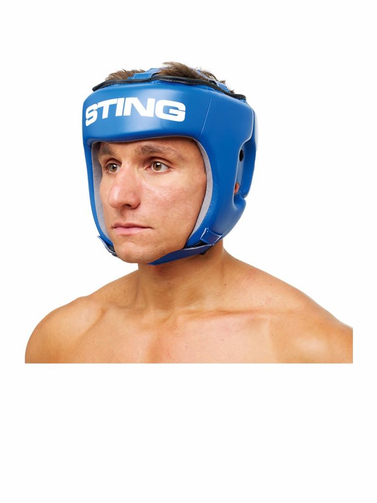 Competition Leather Head Guard Aiba Blue Blue L