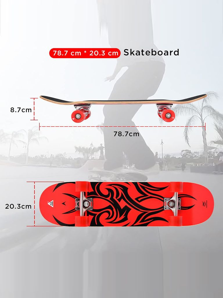 Skateboard for Beginner and Adults, 9 Ply Maple Deck, 31 x 8 Inch