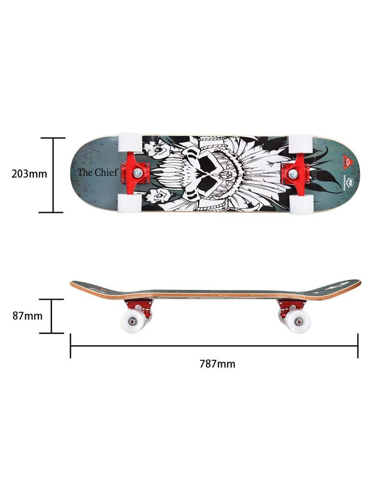 Skateboard for Beginners and Adults with 9 Ply Maple Deck, 60 x 45 mm PU Wheel