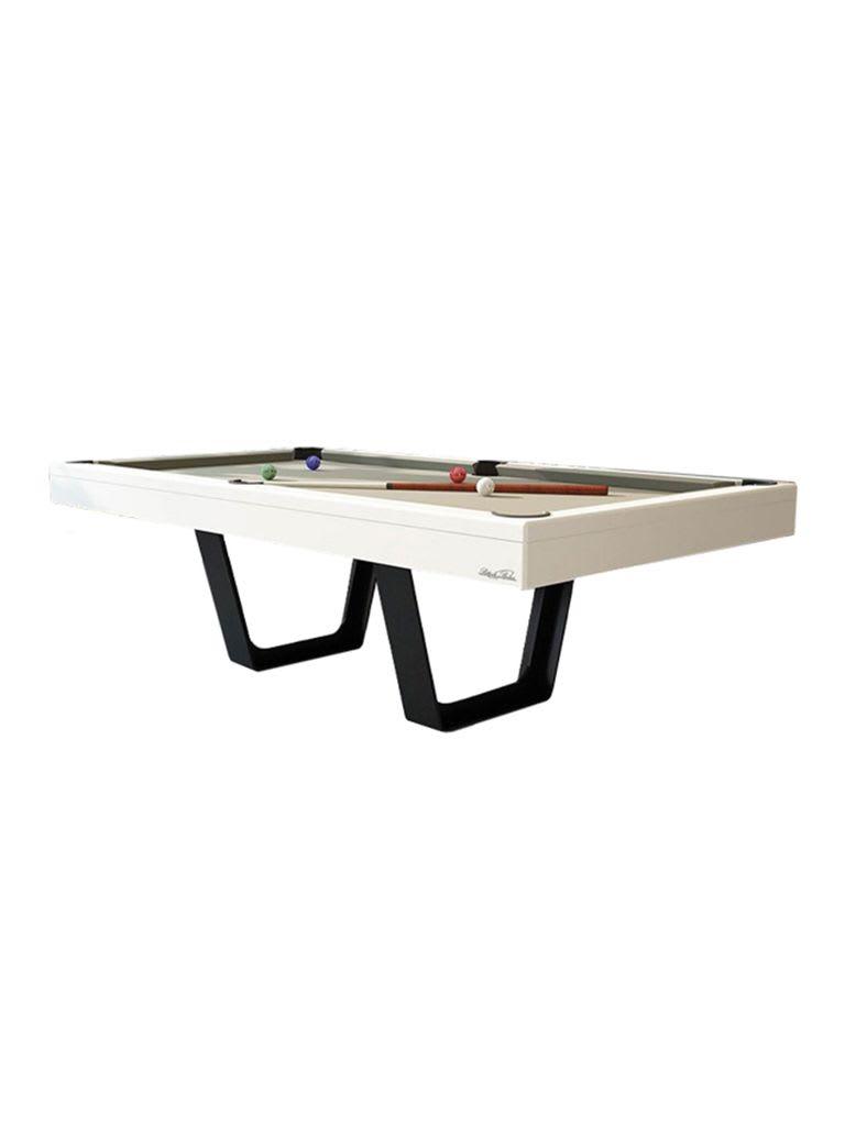 Billiards Breton Aero Pool Table 8Ft. White Finishing W/ Metallic Black Legs With Rails