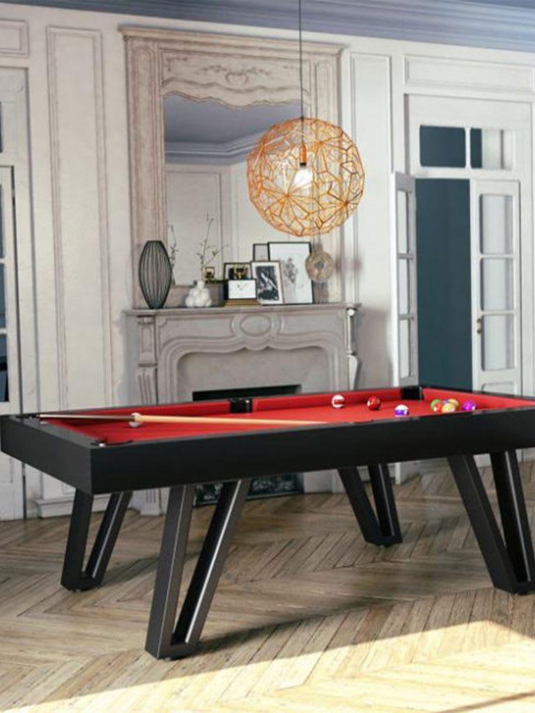 Billiards Breton Osmoz Us Pool Table 8Ft. Black Satin Finishing W/ Black Metal Legs