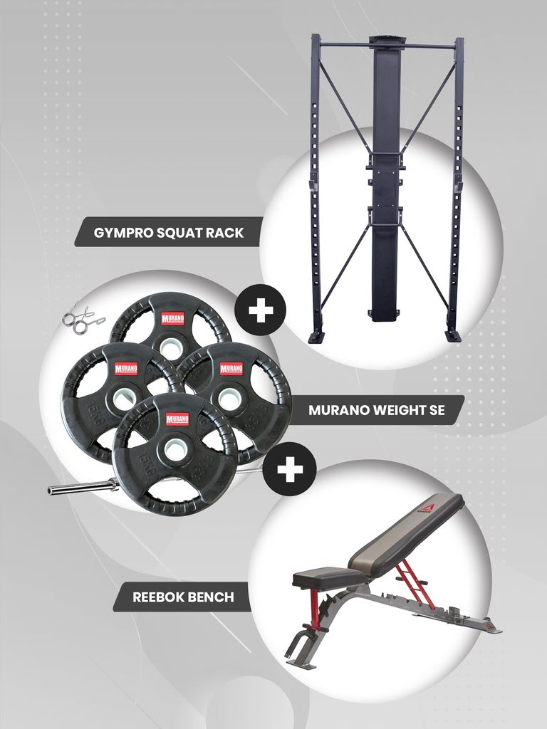 Foldable Wall Squat Rack + Utility Bench + Olympic Disc with Barbell