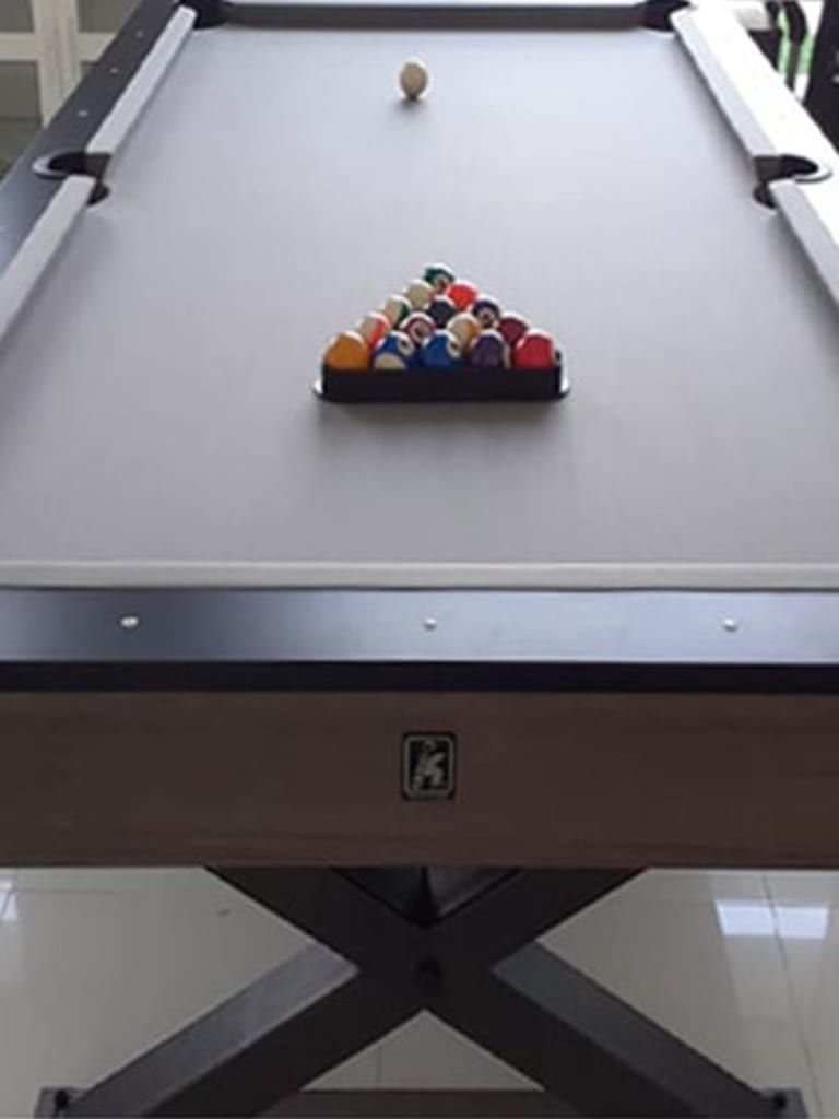 Xenia Dining Pool Table 8Ft with Slate Black Cross Metal Legs