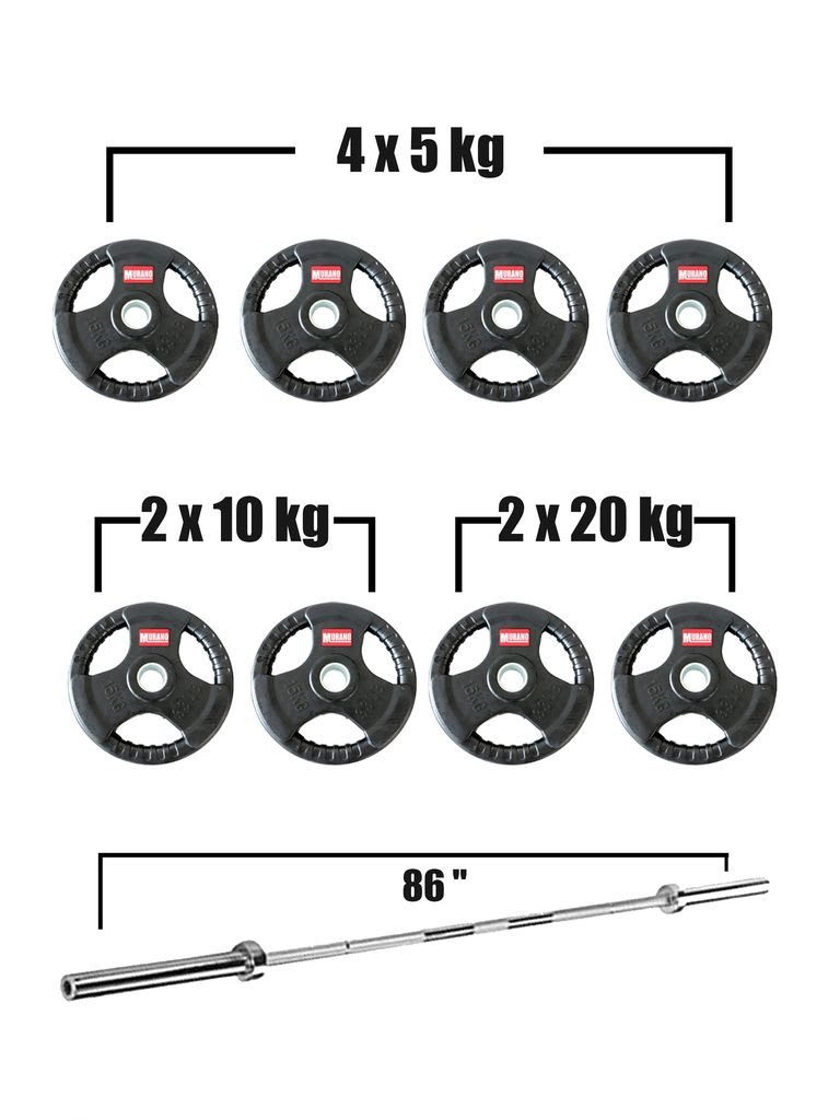 Olympic Rubber Grip Disc with Barbell Set - Black
