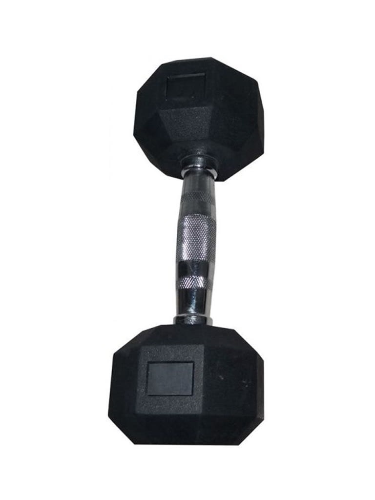 Hex Rubber Dumbbell with Chrome Handle