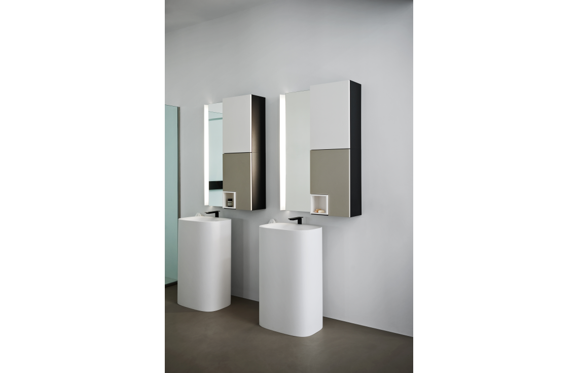 Lavabo A Colonna Design lavabo a colonna predisposto per scarico a parete - agape