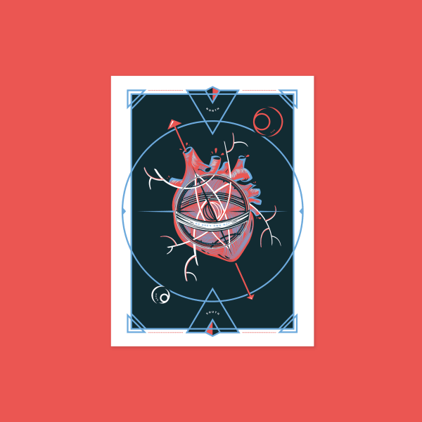 "Anatomical heart branching off like a compass with text reading ""go your own way"