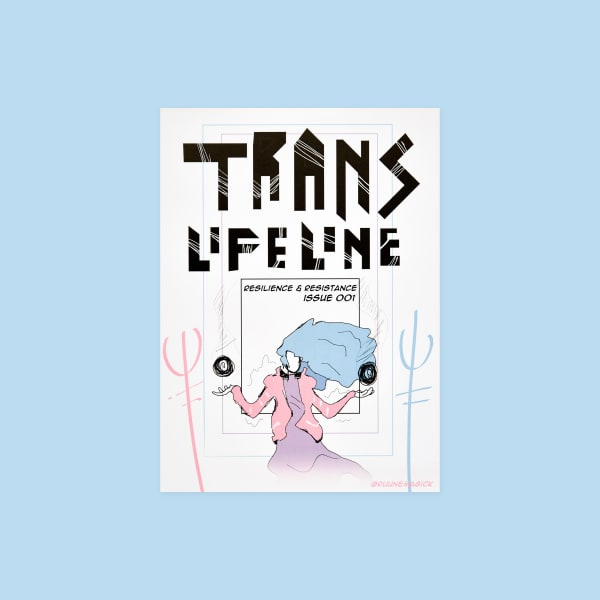 "Comic book style cover. Title reads ""Trans Lifeline"". Text in center of design reads ""Resilience & Resistance Issue 001"". Illustration of figure in center holding a floating sphere in each hand."