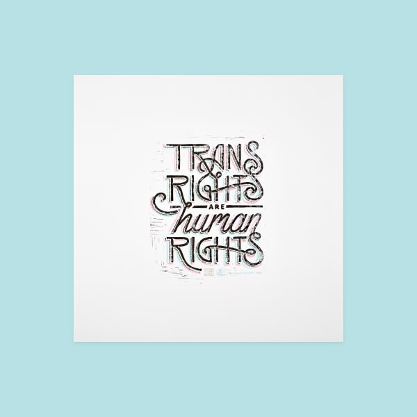 "Type treatment reading ""Trans Rights are human Rights"" in black with pink and blue line details."