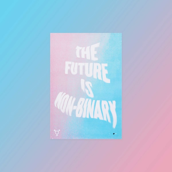 "Color gradient from pink into blue with type treatment reading ""The future is non-binary""."