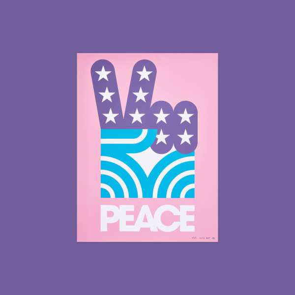 "Large hand making a peace sign. Hand has stars and strip details. Type at bottom reads ""Peace""."