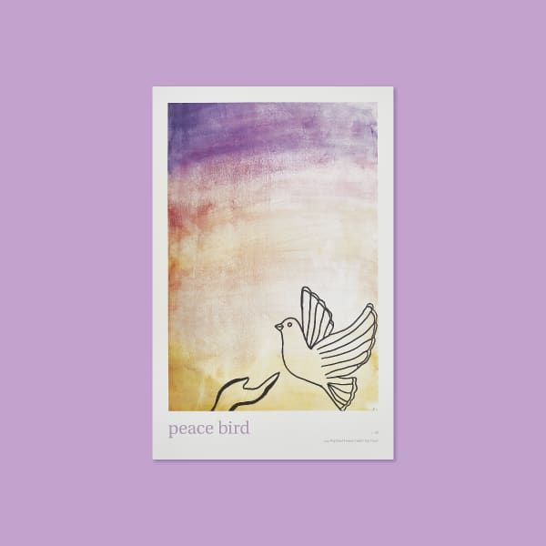 An ombre of colors begins at the top of the page with purple and descends into orange and yellow. At the bottom of the page a black outline of a hand reaches out towards the right side of the page towards a mourning dove coming floating to the left.