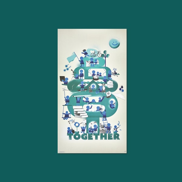 The word together placed at the bottom of a teal colored tree. Figures in blue tones do various activities on the tree, interacting with each other to show moments of community and togetherness. Collage elements are placed throughout.