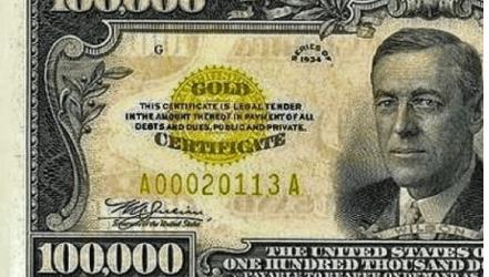 United States 100,000 gold cert.