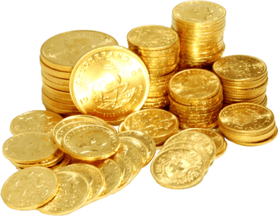 Real gold coins stacked up and shining