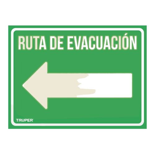 ROTULO DE SEÑALIZACION RUTA DE EVACUACION IZQUIERDA LIN-06 21X28 TRUPER  18369