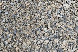 three eighth inch, gray stone, tan stone, crushed stone