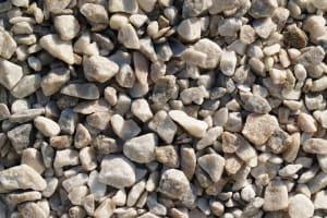 number 7 stone, gray white crushed stone