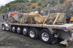 Truck loaded with Security Boulders