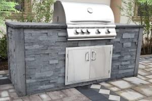 ClifRock Kitchen Island Textured Stacked Stone NY Bluestone