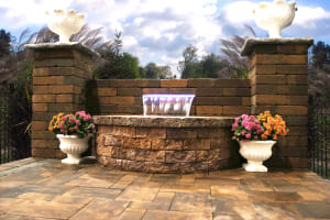 Interlocking Pavers Wall System Golden Brown Water Feature