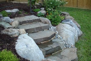 Garden Path Steppers with Boulders and  Beach Pebbles