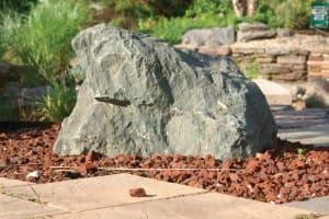 Boulder & Red Lava Stone Mulching
