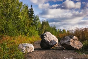 Security Boulders blocking road access