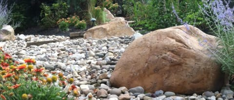 Boulders Surrounded by Decorative Stone in a Garden