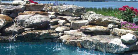 Boulders in a Poolside Waterfall