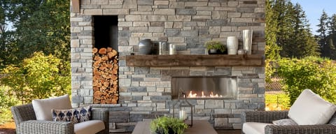 Cultured Stone Veneer Fireplace